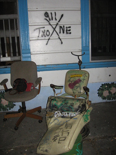 "the house at st. ROCK. This is the chair where you listen to The Sword and say ""how ya doin"" to everybody who walks by"