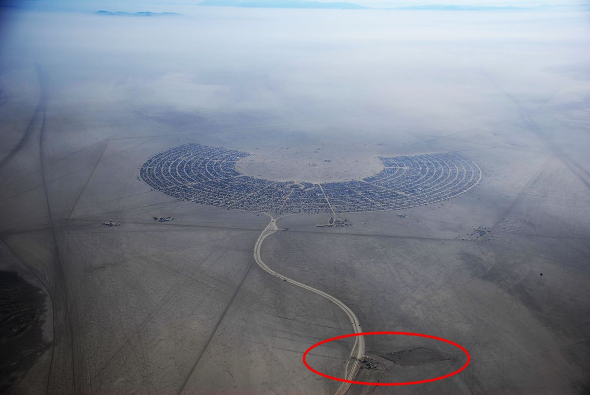 Black Rock City. The Gate is circled in red