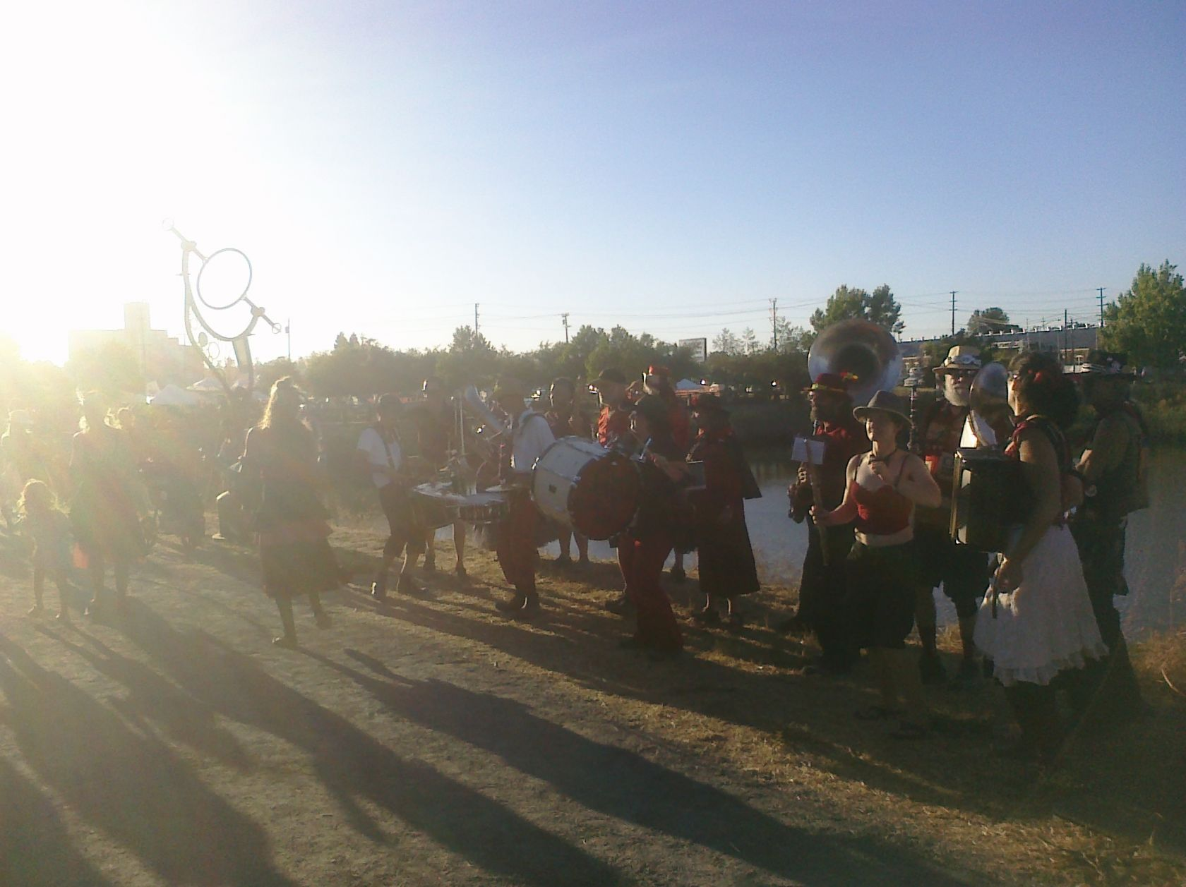HubBub Club leads the sunset parade out of the Petaluma Rivertown Revival 2012. Photo by Summer Burkes