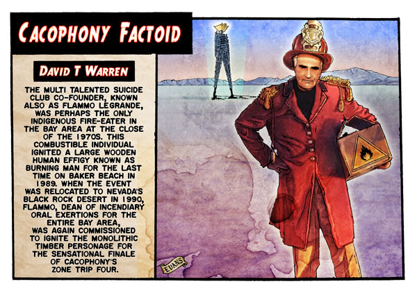 "The Man who enflamed Early Man.art by Kevin Evans, from the book ""Tales of the SF Cacophony Society"""