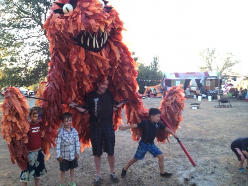 It was all well and good at Camp Tipsy until we got chased by a horrible, scowling monster. Even this puppet was running from Chicken John. Just kiddin' Chicken; thanks for heading up this watery good-clean-funtime.