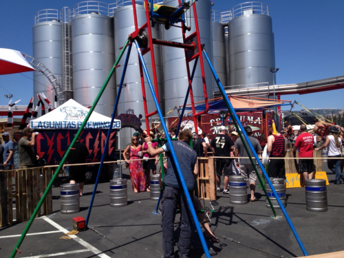 Cyclecide's Ferris Wheel and Cyclofuge pose proudly in front of a whole, whole bunch of beer.