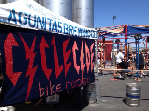 The other new Cyclecide banner we made with obtainium debuted at the Lagunitas Beer Circus in Petaluma. Cyclecide brought the Cyclofuge, Ferris Wheel, Carousel, Kiddie Carousel, and the Dizzy Toy. Which is all great for drunk people. Adults love a good pukey spinning ride or four. Vau de Vire's circus performed and Angelo from Fishbone starred with Gooferman in a real-live big-band punk-rock circus extravaganza. Also: Contortionists and beer.