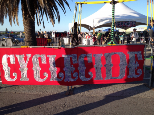 """Cyclecide Bike Rodeo brought some of our pedal-powered carnival rides and freakbikes to the Maker Faire in San Mateo, once again, just like all the other interlocking friendgroups of ours who make weird stuff out of obtainium in the """"Greatest Show and Tell On Earth."""" New Cyclecide banner: 10hrs work; free material. Good thing we took this one photo of the new banner because it's already missing, somewhere in the bus or clubhouse. Always with the."""