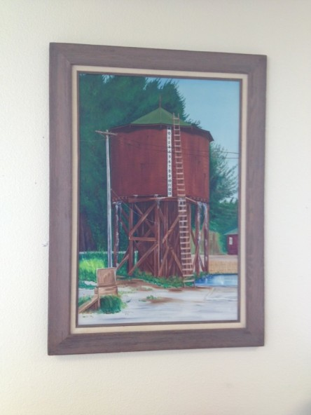 Senior Center painting of Gerlach's iconic Water Tower, by someone named Livermore, done in 1978