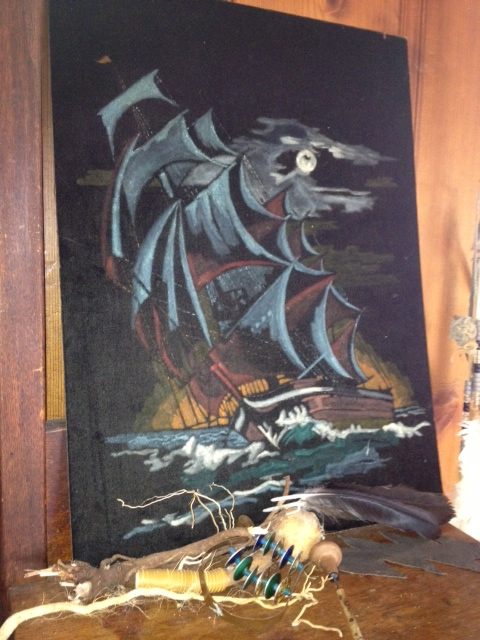 Thrift store art score velvet pirate ship painting. Now I'm just showin' off. Sorry not sorry