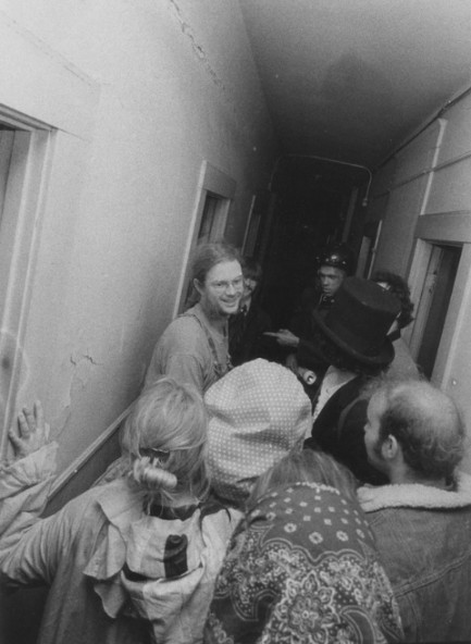 Gary Warne leads the early Suicide Club through some hijinks at the Kennedy Hotel, c. 1977