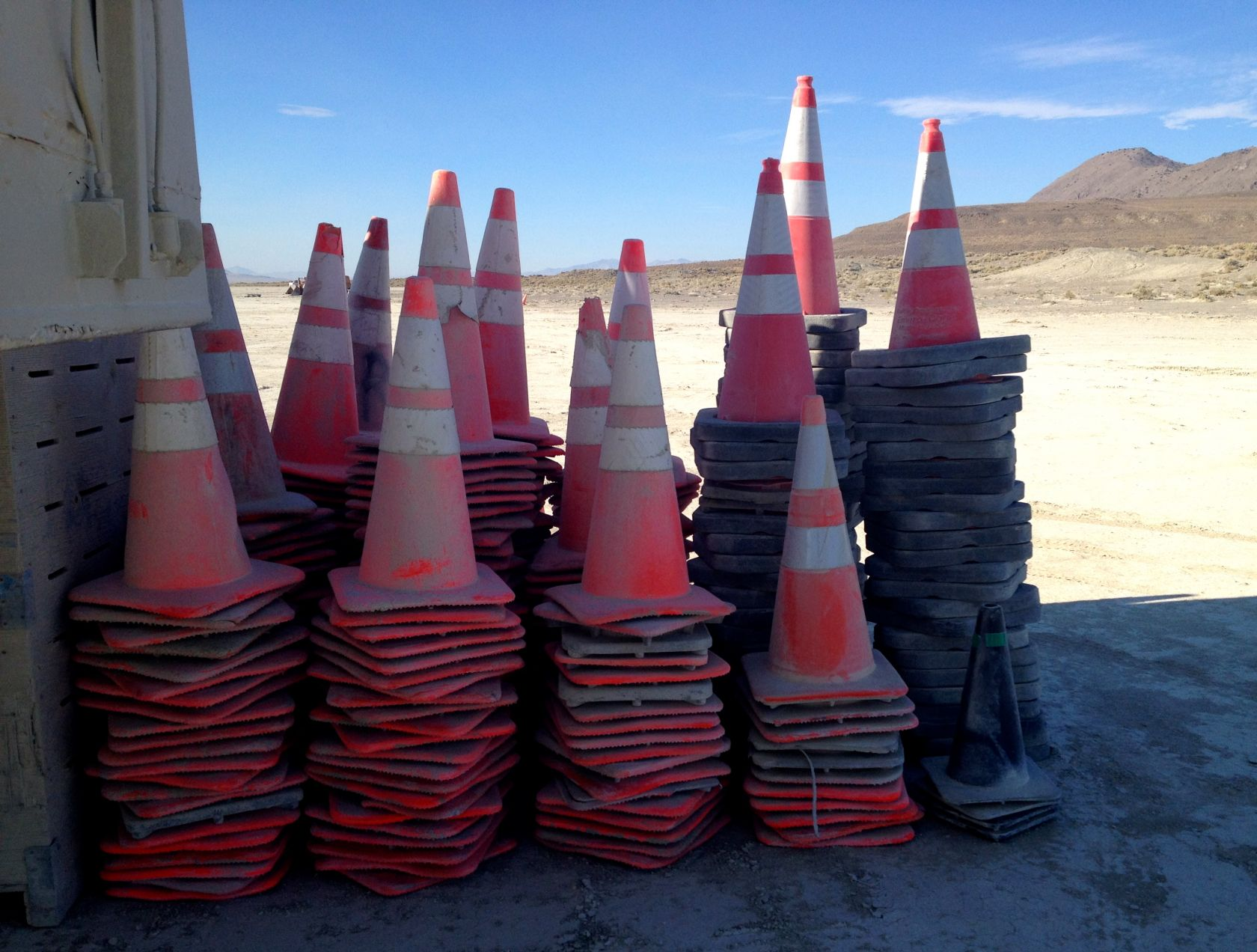 It's Resto, so the phrase DEATH TO ALL CONES rings out here and there. This is one graveyard for cones killed by Special Forces. They'll be reincarnated to mark more hot spots and dunes to bust.