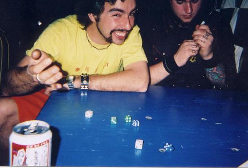 you know you're a hobo when your main forms of entertainment include dice drinking games and writing on yourself