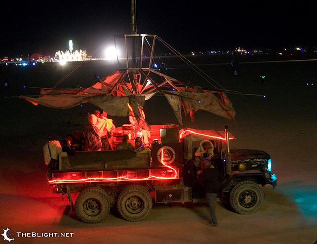 the Dead Hooker Cooker at night on the desert at Burnin' Man