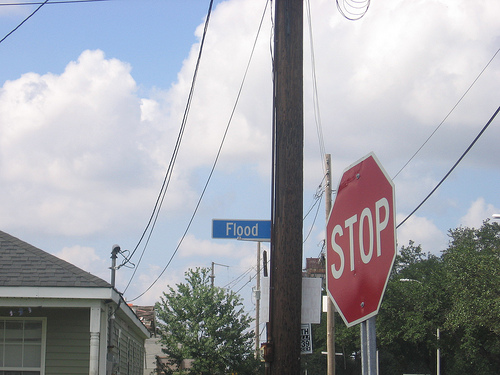 flood stop, levees fix, lower 9th rebuild. yoda talk in street signage