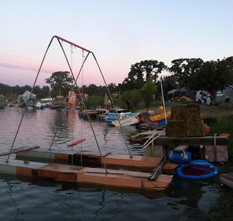 homemade junk boat swingset