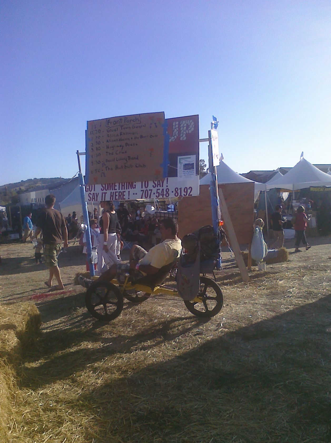 Reclining bike announcement board at Petaluma Rivertown Revival 2012. Photo by Summer Burkes.
