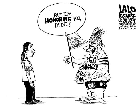 Cartoon Lalo Alcaraz Honoring Native Americans