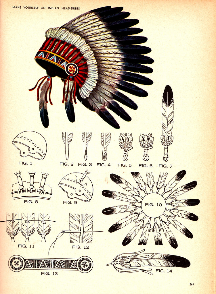 make an indian headdress - old scout drawing