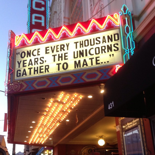 Castro Theater marquee Tales of the SF Cacophony Society opening photo by Eddie Codel