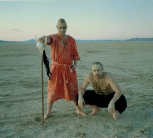 Kevin Evans and Sebastian Hyde started the first-ever Burning Man theme camp, where they acted like natives from somewhere, made up a language, and bartered with clay money. Photo stolen from BrokeAssStuart.