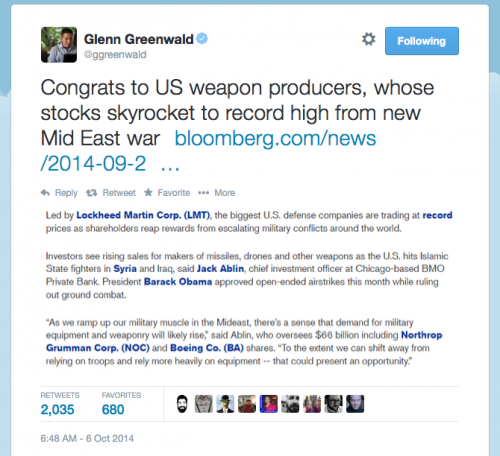 glenn greenwald congratulates Raytheon and other weapons manufacturers on skyrocketing stocks