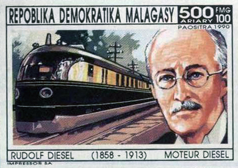 an image search reveals Rudolf Diesel is immortalized in several European stamps. like Tesla would be in America if his technology wasn't also suppressed by the oiligarch Skeksis, who power the world on the screams of the poor. ahem