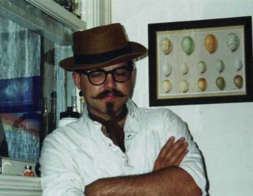 Chicken John in the author's kitchen, 1998. Get it? Chicken / eggs? ba-dump-chink